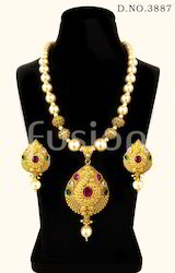 Pearl Beaded Polki Designer Traditional Antique Pendant Set