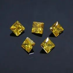 Cubic Zirconia Yellow Square