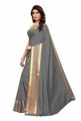 Cotton Silk Party Wear Grey Saree With Blouse Piece