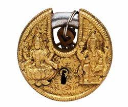 Indian Art Villa Brass Small Round Ganesh Lakshmi Ji Lock