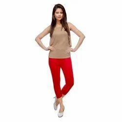 Stretchable Red Ladies Cotton Lycra Capri Legging, Size: 28-36