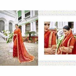 Designer Printed Bandhani Silk Saree