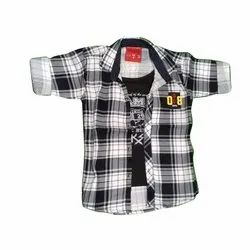 Twill Cotton Casual Wear Boys Check Shirt With T-Shirt