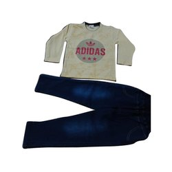 Full Sleeves Casual Wear Kids Printed Cotton T Shirts and Denim Pant