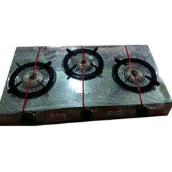 Crome Steel Body LPG Three Burner tnt model Stove, For Kitchen