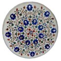 White Marble Table Top Abalone Stone Marquetry Inlay Art