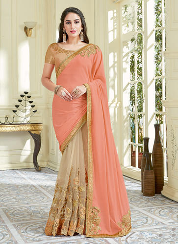 c91b0b3faa Weeding Wear Lycra Embroidery Work Saree, Length: 6.3 M, Rs 3165 ...