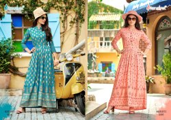 Rayon Gold Prints Gown Collection By Rangjyot
