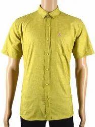 Slim Fit Men Mustard Half Sleeve Shirt