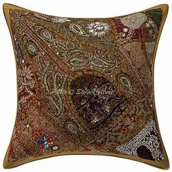Decorative Gold Hand Embroidered Beaded Sequins Cushion Covers