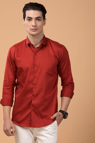 37dab60c10d Lycra Plain Cherry Red Shirt For Men, Rs 500 /piece, Deal With ...