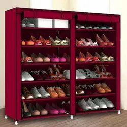 Steel And Fabric Multi-Purpose Shoe Rack With Cover, 12 Shelf,