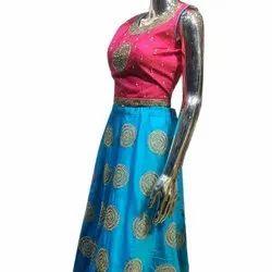 Semi-Stitched Chanderi Ladies Designer Lehenga, Packaging Type: Packet