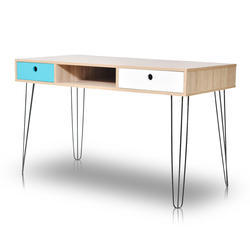 Light Wood Tone wooden with iron legs Computer Desk
