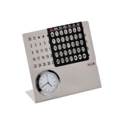 Steel Desk Calendar with Clock