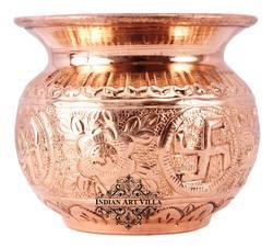 Indian Art Villa Copper Swastik Design Round Lota Kalash, Size: 78