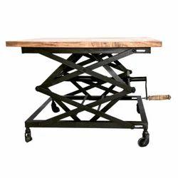 Kernig Krafts Brown & Black Adjustable Wooden Table, For Cafe,Cafeteria & Restaurant