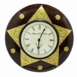 Round Star Shape Wooden & Brass Wall Clock