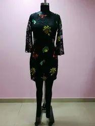 Embroidery Black Short Length Dress, Size: S - XL