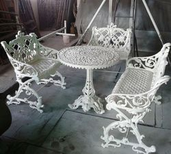 White Metal Outdoor Dining Table