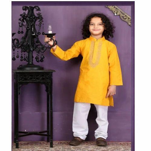 cda3b49d50 Boys Kids Yellow Kurta Pajama