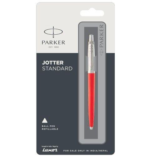 Blue Body Blue Ink New Parker Jotter Standard CT Chrome Trim Ball Point Pen