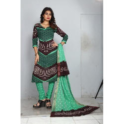 Cotton Printed Unstitched Bandhani Suit