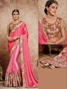Silk Pink Zardozi Work Bridal Saree