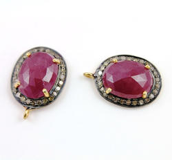 Jewellers Paradise Rose Cut Ruby Pave Diamond Pendant, Size: 16x20mm