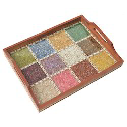 Square Multicolor Wooden Gemstone Tray