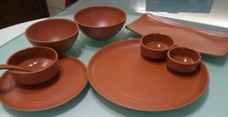 Dark Brown Plain Melamine Terracotta Plates and Bowls, For Hotel, Shape: Round
