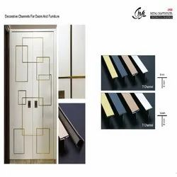 Decorative Golden Finish T Channel For Doors & Furniture