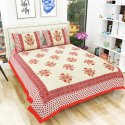 Jaipuri Hand Block Printed Traditional 200TC Cotton Double Bedsheet with 2 Pillow Covers