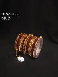 Women Traditional Jota Velvet Bangles Set D. NO. 3756, 3760, 4636, Packaging Type: Box
