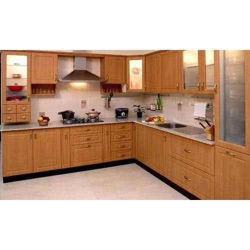 Elegant L Shaped Solid Wood Kitchen Cabinets Latest: Wooden L Shaped Modular Kitchen Cabinet At Rs 60 /square