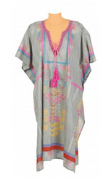 Solid Dyed Kaftan with Embroidery