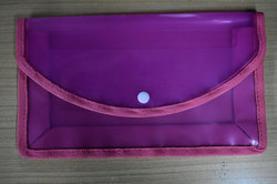 Classik Plastic Button File Folder Transparent Cross Line Design Document Bag 0.35_601
