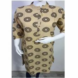 Ladies Banded Collar Cotton Kurti