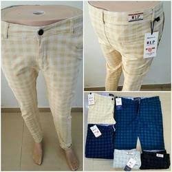 Lycra Cotton Check Mens Branded Chinos