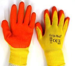 Yellow Nylon Shell With Orange Crinkle Latex Palm Coated Gloves