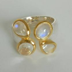 Rainbow Moonstone Gold Bezel Sterling Silver Gemstone Ring