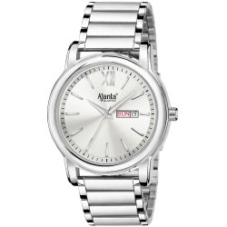 Ajanta's Stainless Steel Silver Dial with Day and Date Watch for Men-AWC049-2-WS-SS