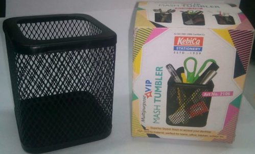 KEBICA BLACK Jali / Mesh Pen Holder Square