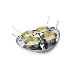Stainless Steel Desert Bowls With Plate