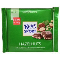 Ritter Sport Milk Chocolate With Chopped Hazelnuts (100g)