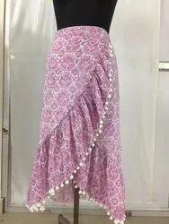 Cotton Print Wrap long skirt