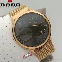Golden And Black Rado Black Wrist Watch