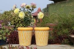 Yellow Painted Planter