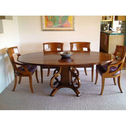 Wooden Dining Table Set: Teak Wood Round Shape Dining Table Set, Rs 9000 /piece, M