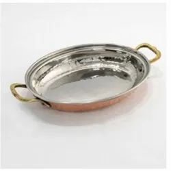 Oval Serving Copper Dish, Packaging Type: Box